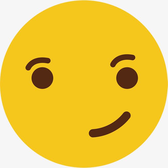 黄色可爱圆脸矢量撇嘴表情图片