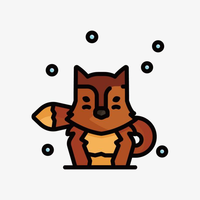 灰色手绘狐狸元素