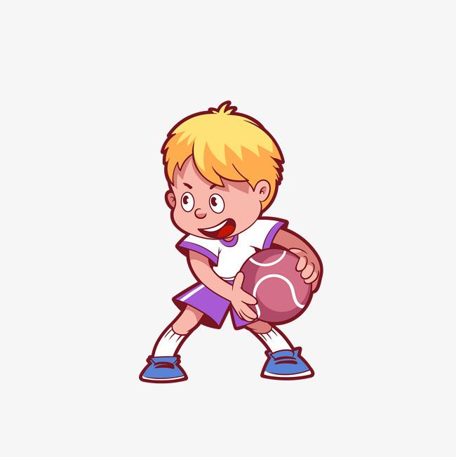 矢量手绘运动打篮球男生