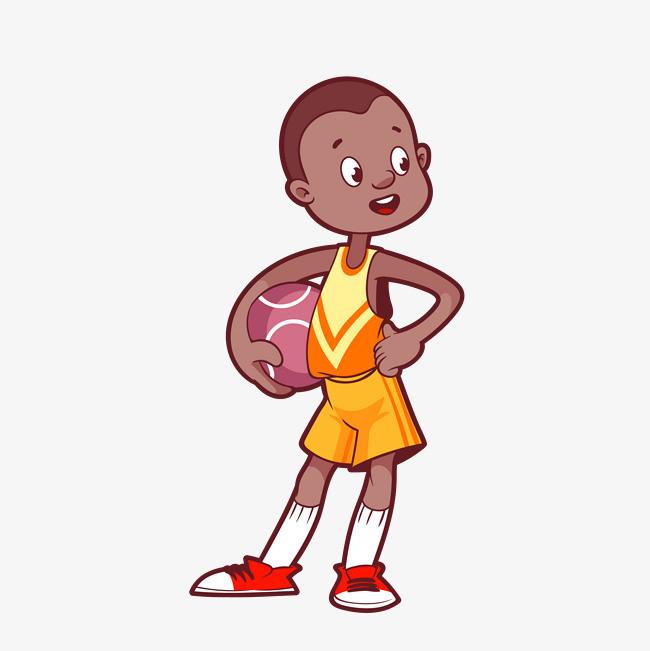 矢量手绘卡通打篮球男生