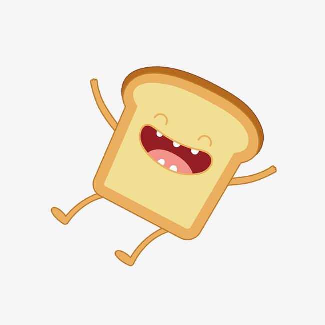 矢量手绘卡通开心大笑面包