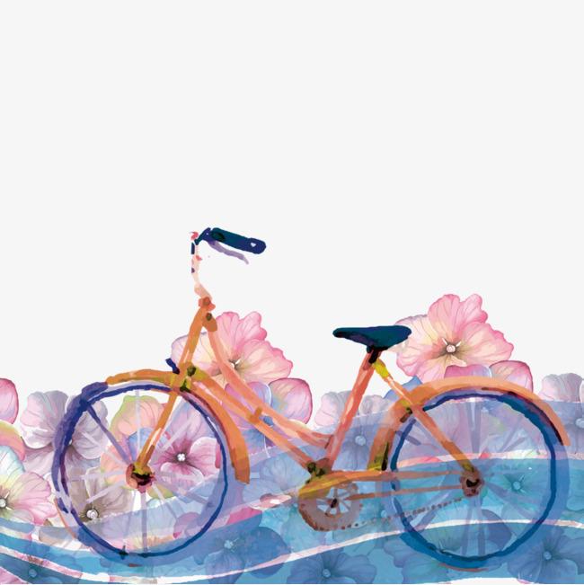 手绘彩绘植物自行车