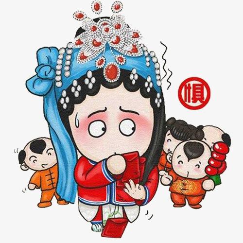 彩色质感装饰京剧卡通人物设计图图片
