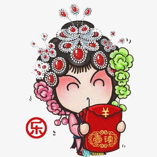 彩色中国风装饰京剧设计图图片
