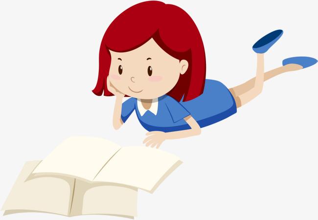 趴着看书的小女孩