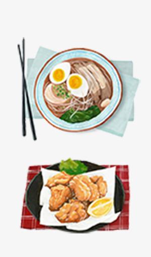卡通手绘鸡蛋米线