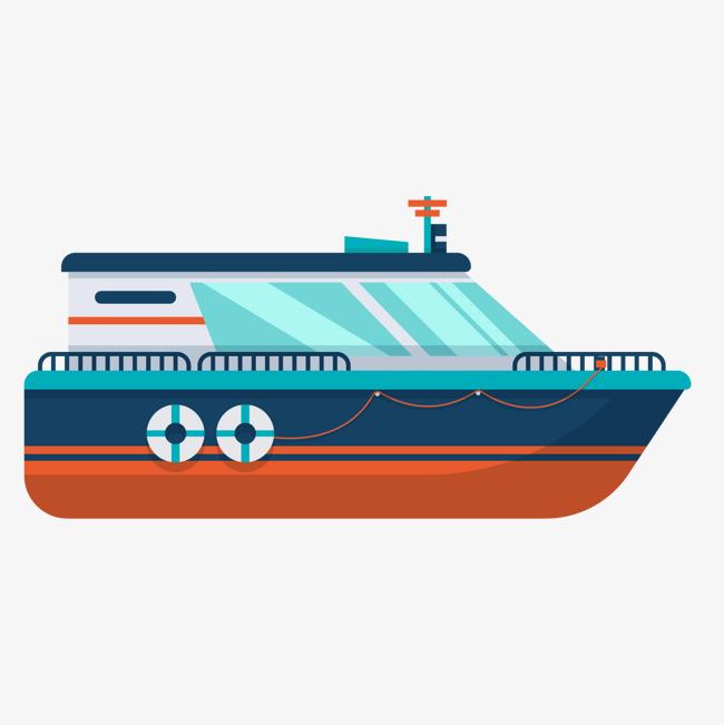 卡通蓝色轮船矢量图
