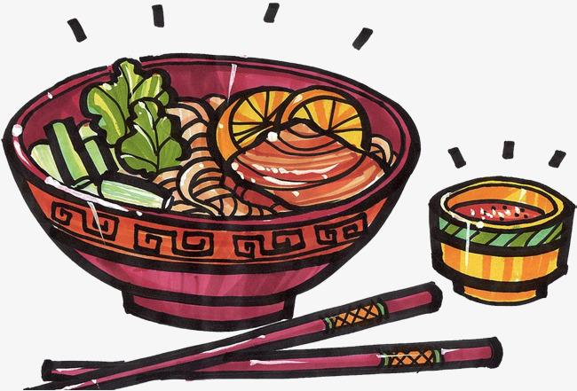 卡通手绘碗面米线