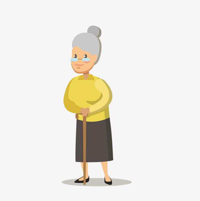 矢量手绘卡通老奶奶