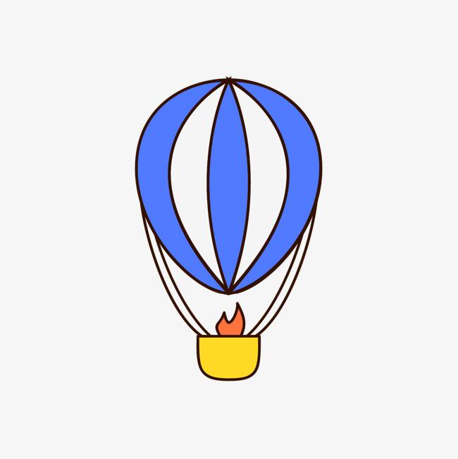 蓝色手绘线稿热气球元素