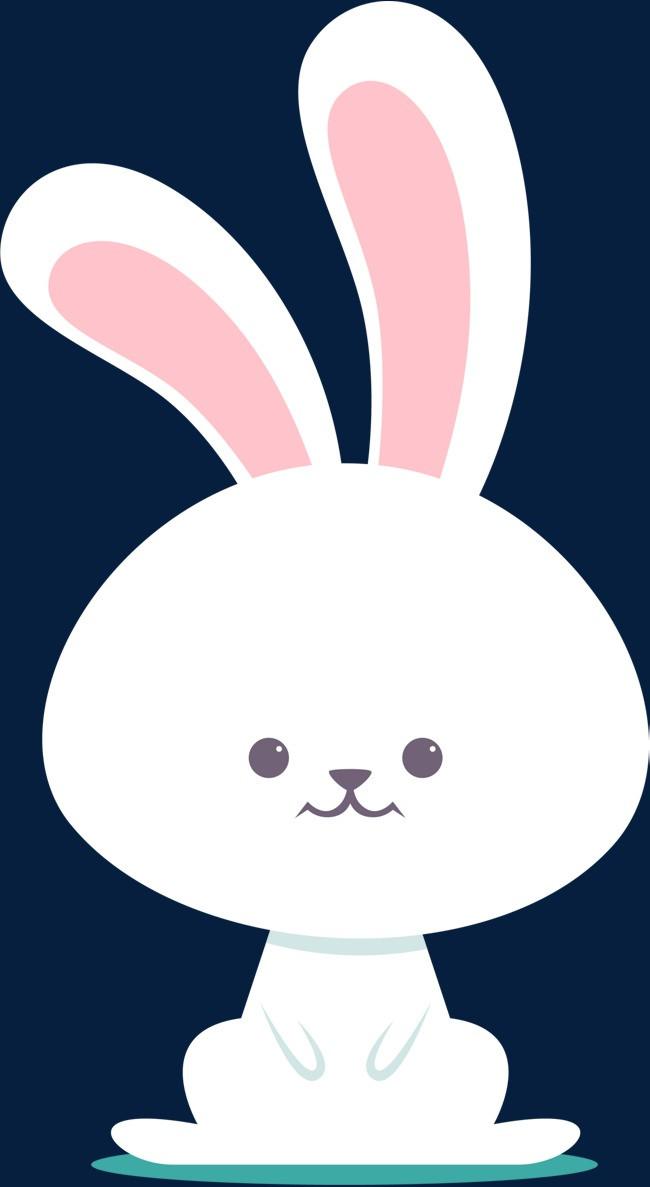 复活节呆萌白色兔子png素材下载_高清图片png格式(:)