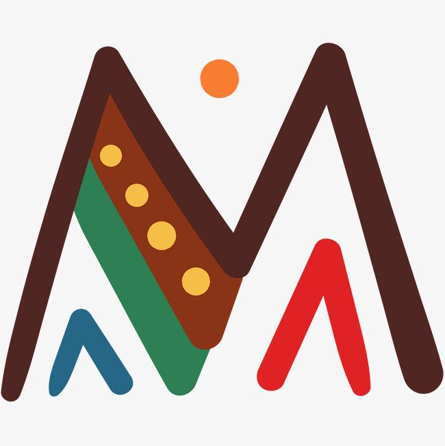 彩色创意矢量字母m设计