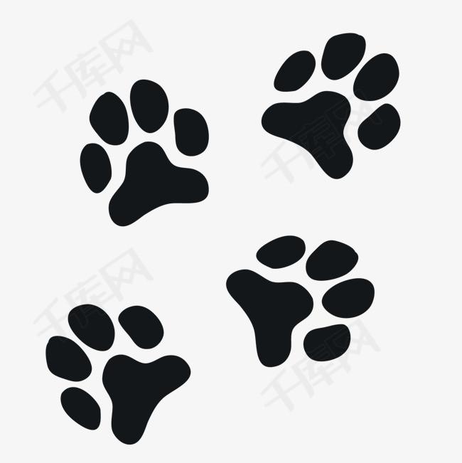 卡通黑色狗爪印矢量图黑色脚印卡通脚印矢量图背景装饰狗爪印-卡通