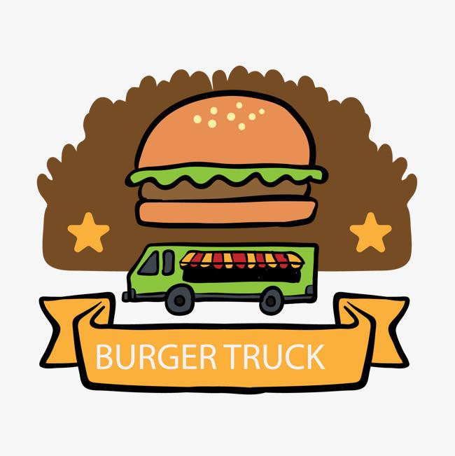 卡通汉堡餐车标签设计图片