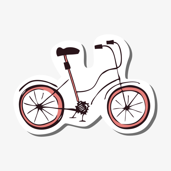 灰色手绘线稿自行车元素