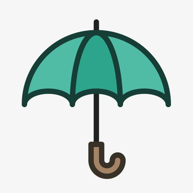 彩色手绘线稿雨伞元素