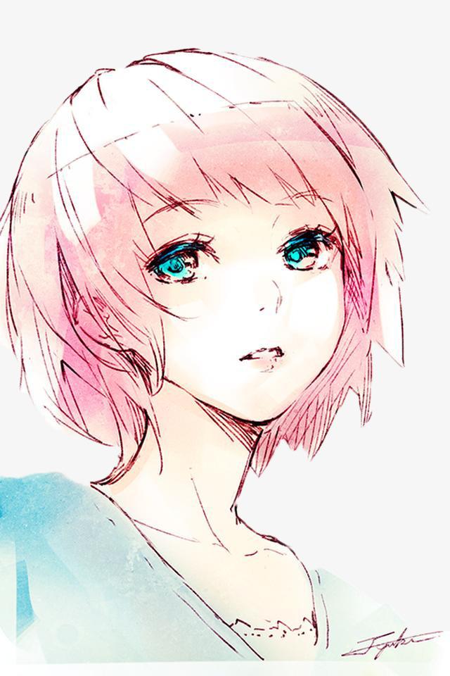 粉色头发丫头侧颜手绘