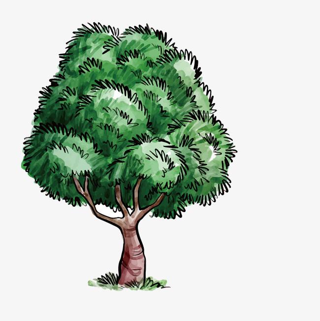 卡通手绘绿色树木