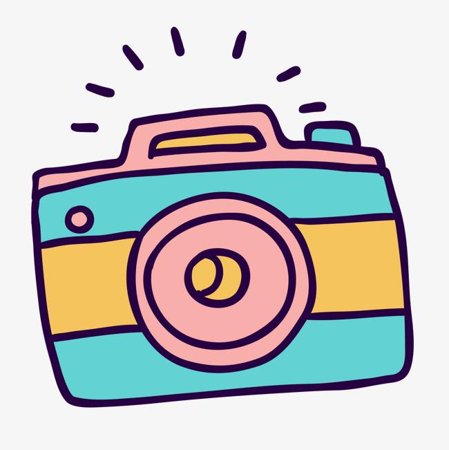 卡通手绘彩色的照相机