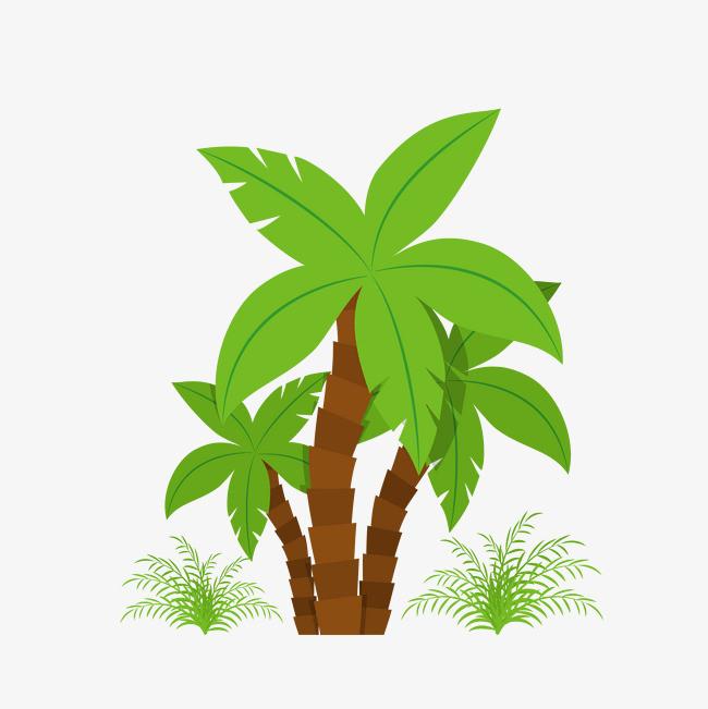 矢量手绘绿色椰子树