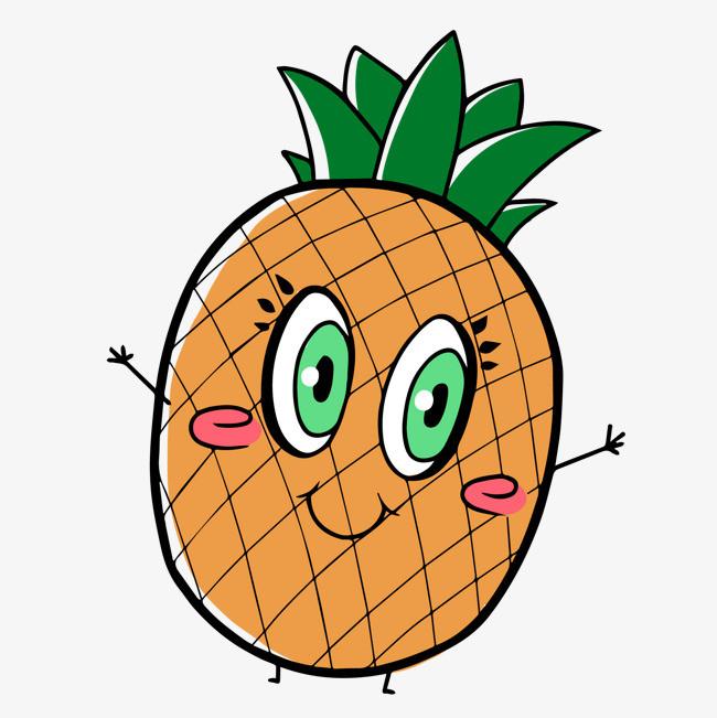 卡通可爱的手绘菠萝