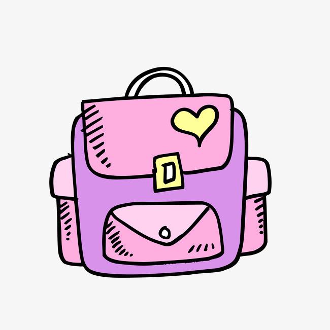 矢量手绘卡通紫色书包