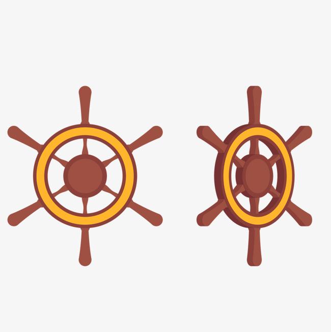 卡通轮船方向盘矢量图图片