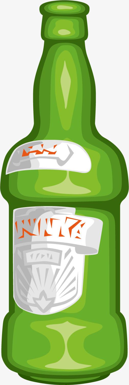 矢量图手绘绿色啤酒瓶