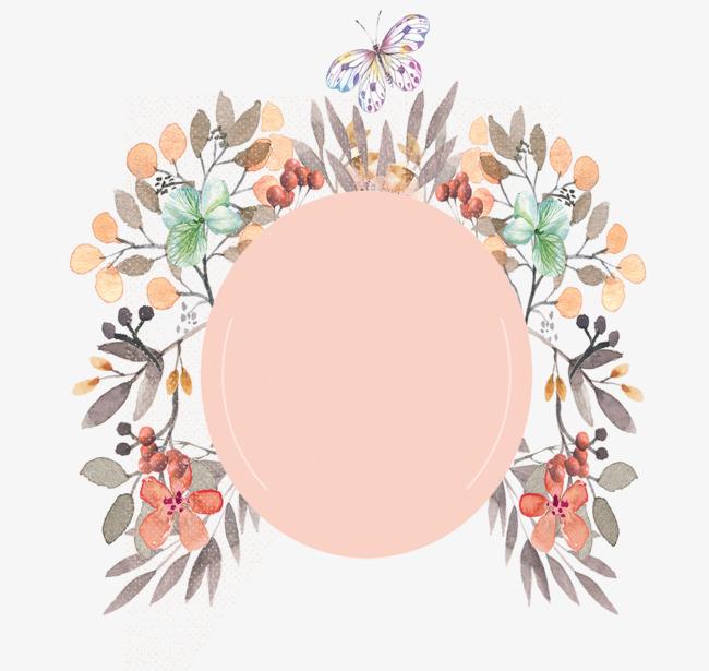 小清新手绘花环边框