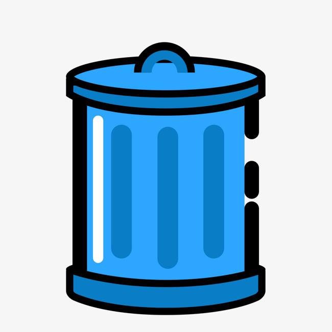 蓝色手绘垃圾桶元素
