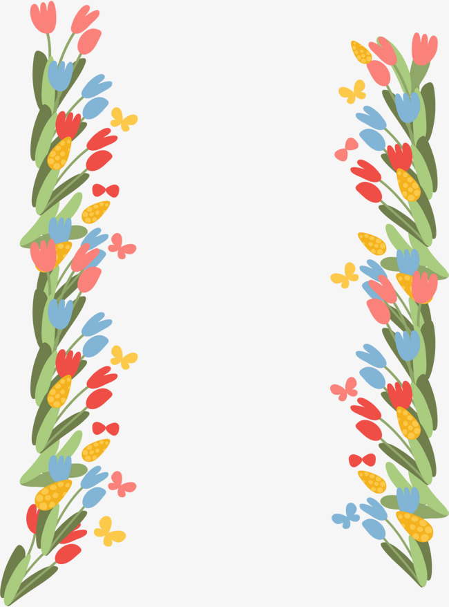 卡通彩色花朵边框
