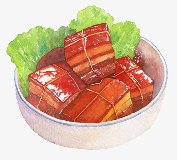 手绘中国菜荤菜红烧肉