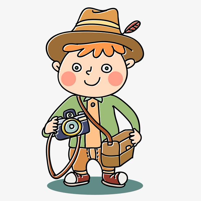矢量手绘卡通拍照小男生
