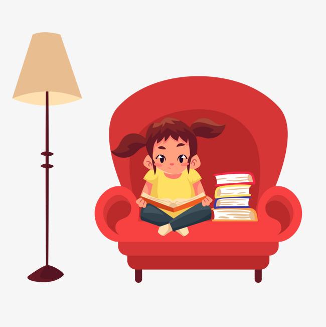 卡通手绘坐在沙发上看书的小女孩