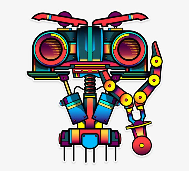 手绘彩色机器人png