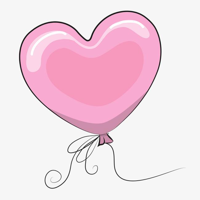 矢量手绘粉色爱心气球