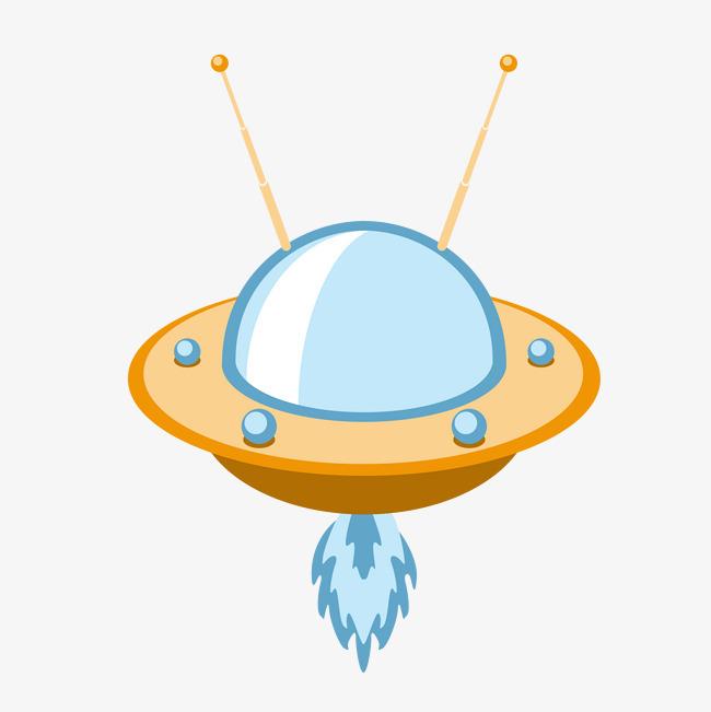矢量手绘卡通外星飞碟