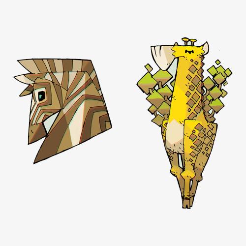 卡通手绘几何拼接抽象动物插画设计