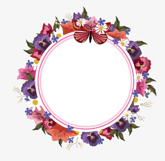 三八节花环圆形手绘花朵标签