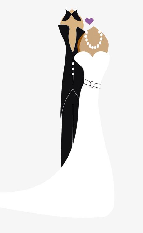 黑白简笔画卡通新郎新娘
