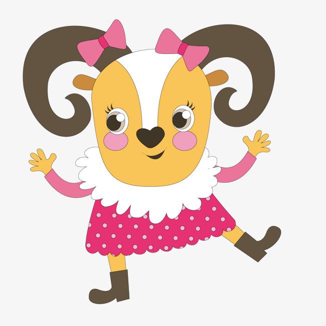 卡通可爱的穿裙子的山羊图片