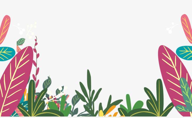 卡通手绘彩色叶子小草背景