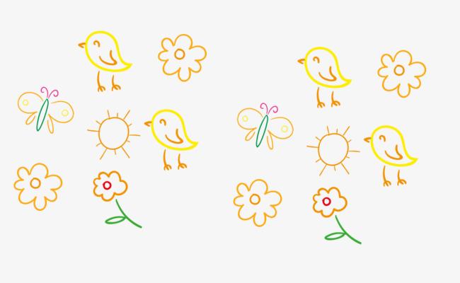 卡通手绘简笔画装饰花朵
