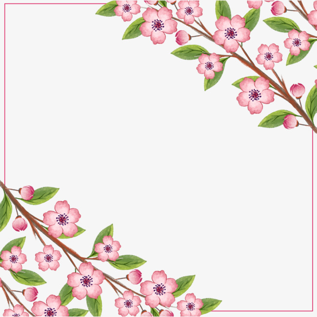 手绘粉色桃花边框