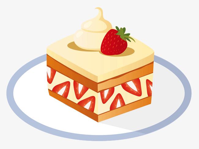芝士正方形切块水果蛋糕手绘蛋糕草莓手绘蛋糕甜品