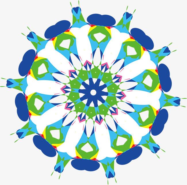 彩色 花朵 手绘花矢量花 几何手绘 装饰 花纹 线性花 花纹图案 瑶族