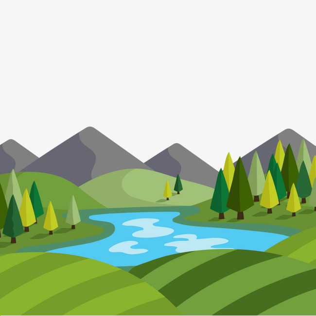 图片 装饰元素 > 【png】 扁平化河流风景矢量  分类:装饰元素 类目