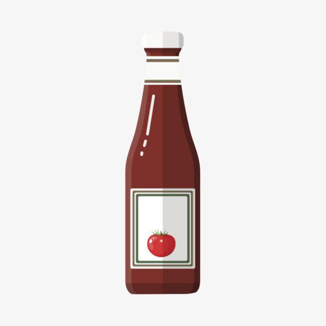 红色可回收的塑料贴分类标签的番茄酱包装卡通图片