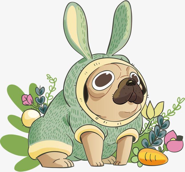 矢量手绘可爱彩色小兔子
