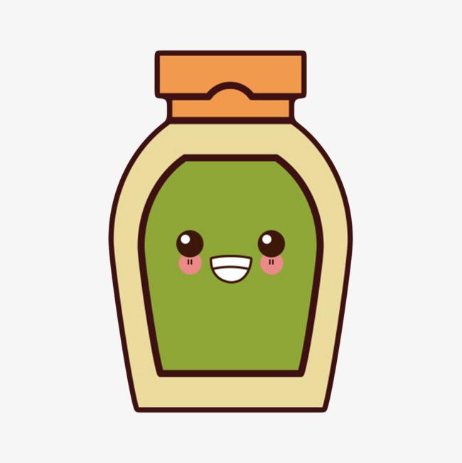 绿色可回收的塑料哭了表情番茄酱包装卡通图片